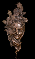 Copper Brass CHINESE Crafts Ation Asian Classic Handmade Mask Peacock Copper Bronze Statue Metal Wall Art