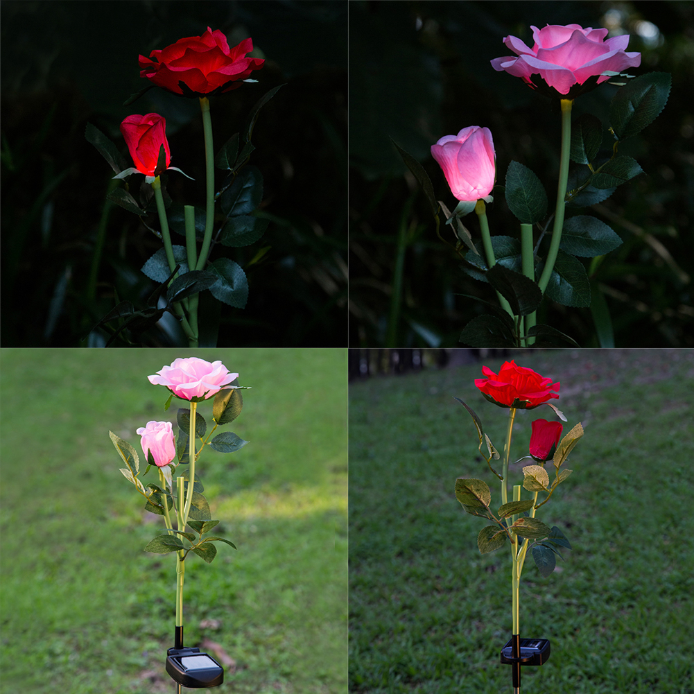 Waterproof Solar Power Led Lamp Rose Flower 2LED Light Garden Outdoor Yard Wonderful Decoration for Wedding Party LED Light