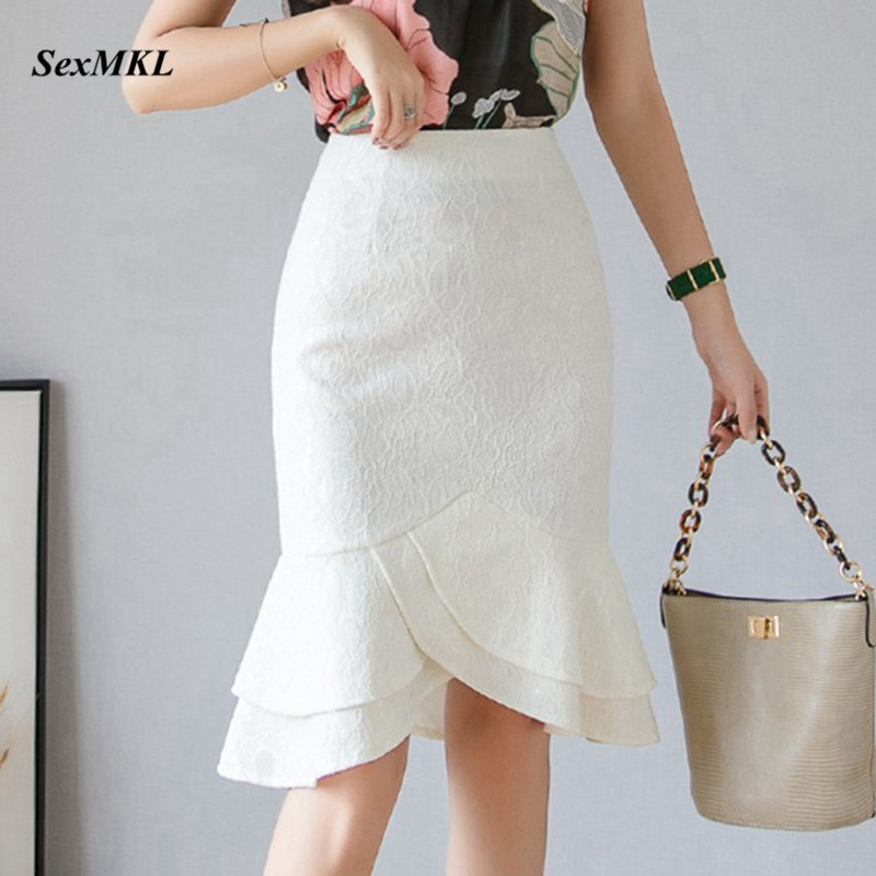 SEXMKL Plus Size White Lace Skirt Women 2019 Summer High Waist Black Skirts Sexy Office Lady Ruffles Pencil Skirt Jupe Femme