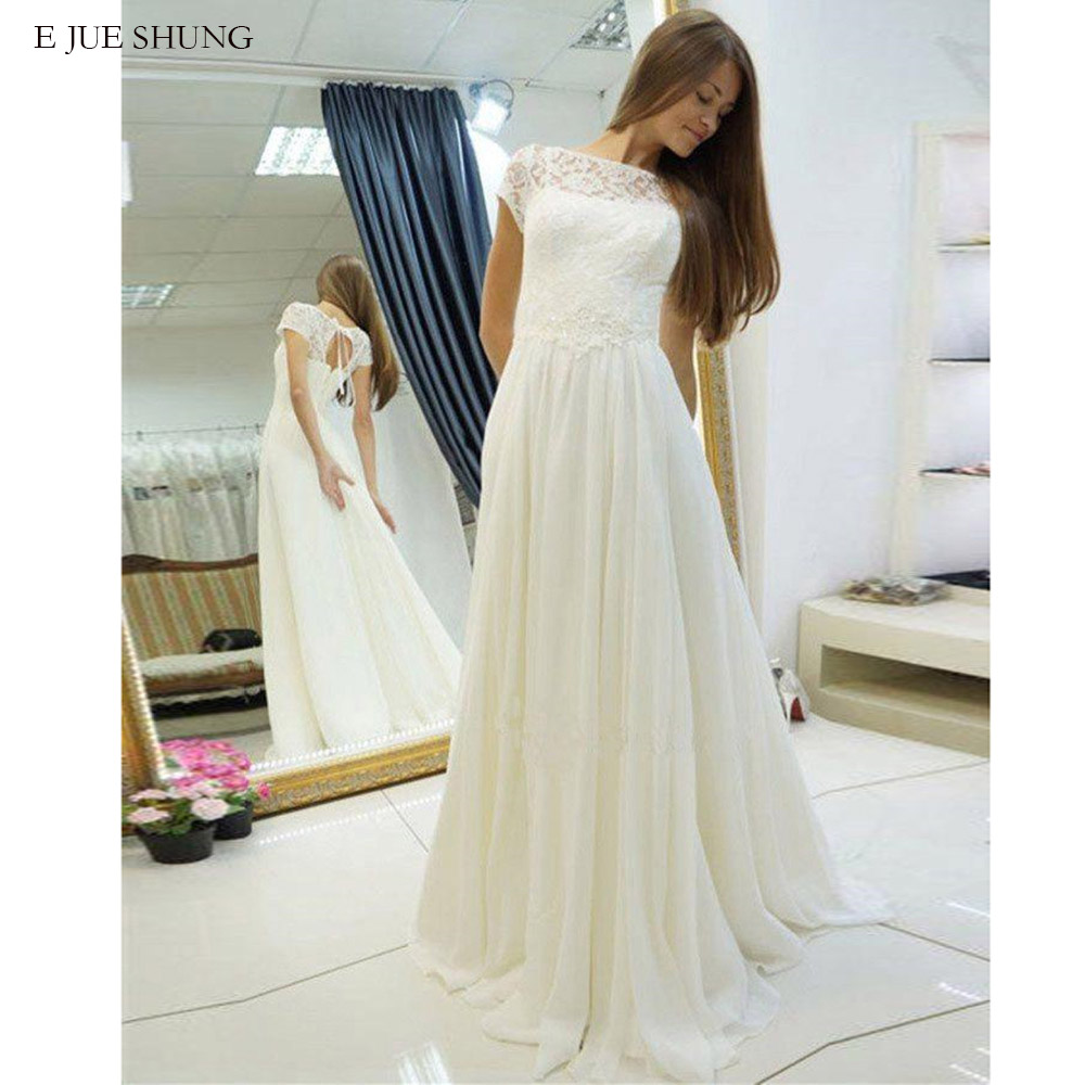 E JUE SHUNG White Lace Chiffon Boho Wedding Dresses Short Sleeves Beach Bride Dresses Wedding Gowns Robe De Mariee
