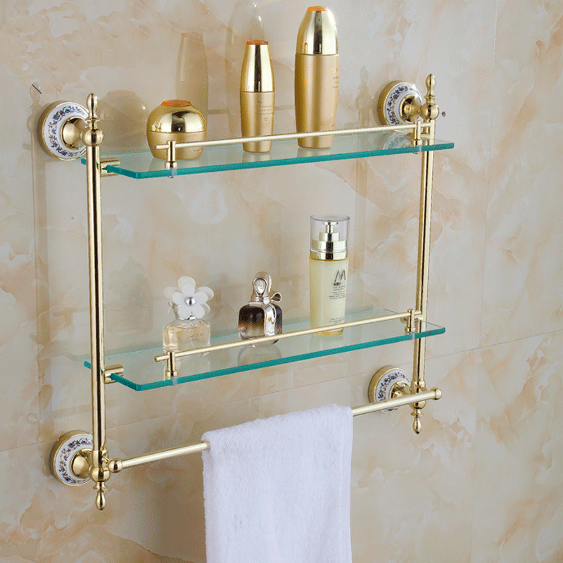 Bathroom Shelves With Dual Tempered Glass Golden Finish Metal Material Wall Mounted Storage Shelf Towel Bar 54cm Hanger ST-6316Bathroom Shelves With Dual Tempered Glass Golden Finish Metal Material Wall Mounted Storage Shelf Towel Bar 54cm Hanger ST-6316