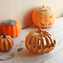 1Pcs short Pumpkin Flameless Candles LED Candle scented candles velas Electronic Lamp for halloween birthday Wedding decoration