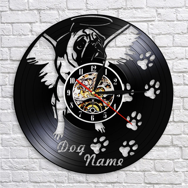 1Piece Customize Dog Name Clocks Lovely Puppy Pet Dog Wall Art Decorative  Clock Vinyl Record Wall