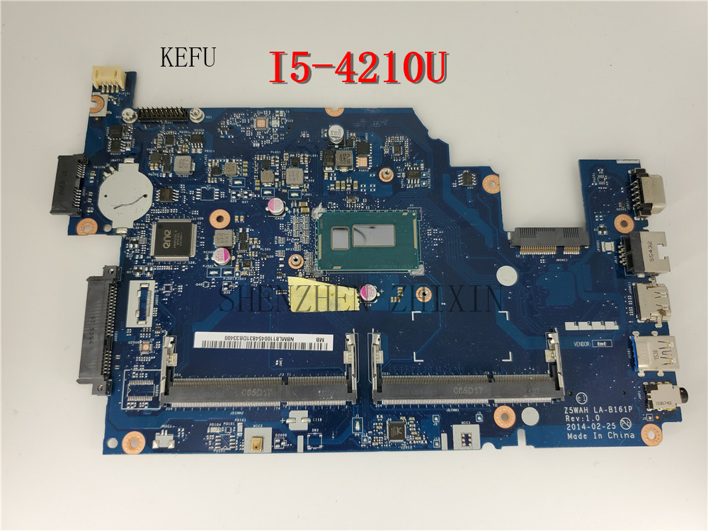 For ACER ASPIER E5-571 E5-571P Laptop motherboard I5-4210U CPU NBML811004 Z5WAH LA-B161P Mainboard test good
