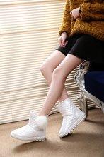 Liren 2019 Winter Fashion Women Boots Ankle Flock Plush Snow for Basic Shoes Waterproof Size 35-40