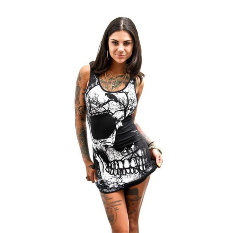 Vintage British Street Women Black Dress 3D Skull Printed  Sexy Bodycon Party Knitted Dress Short Package Hip Dresses M-XXXL