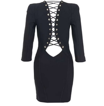 Women Lace Up Bodycon Dress Sexy Club Night Bandage Party Dresses