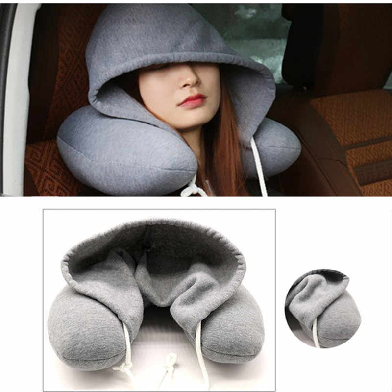U-Shape Headrest With Cap 30x28cm Memory Foam Neck Pillow Latex Particle Filler Material Travel Office Pillow Home Textile