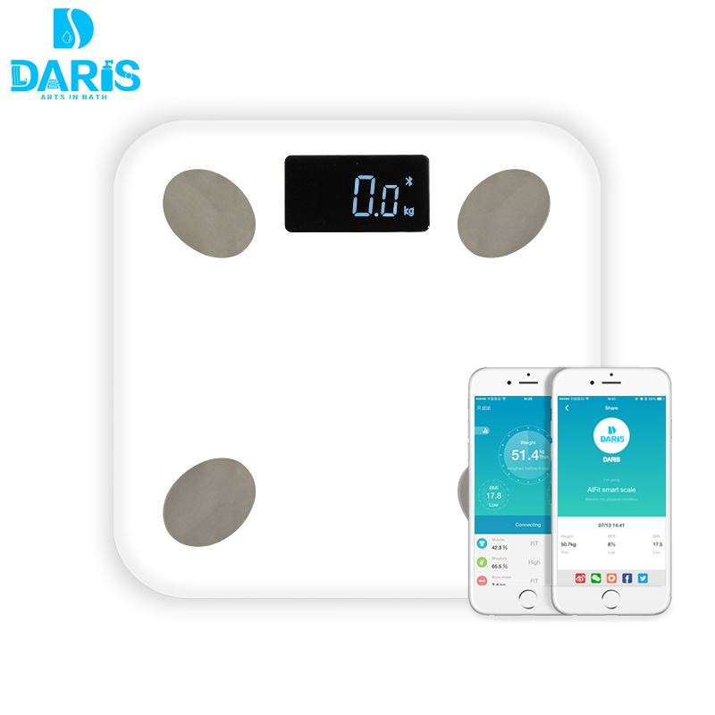 DARIS Bluetooth Digital Body Weight Bathroom Scale Smart Backlit Display Scale for Body weight Body Fat Water Muscle Mass BMI