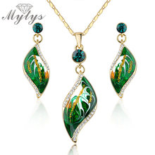 Mytys Green Leaf Jewelry sets  Necklace and earring Jewellery set for female N917