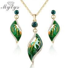 Mytys Green Leaf zestawy biżuterii naszyjnik i kolczyki zestaw biżuterii dla kobiet N917