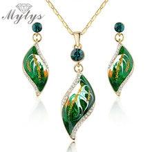Mytys зеленые Наборы украшений в форме листьев, ожерелье и серьги, комплект ювелирных изделий для женщин N917