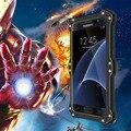 Mk2 amor mei poderosa à prova de choque + de metal de alumínio para samsung galaxy s6/edge/edge + s7/borda da tampa do caso com o vidro temperado