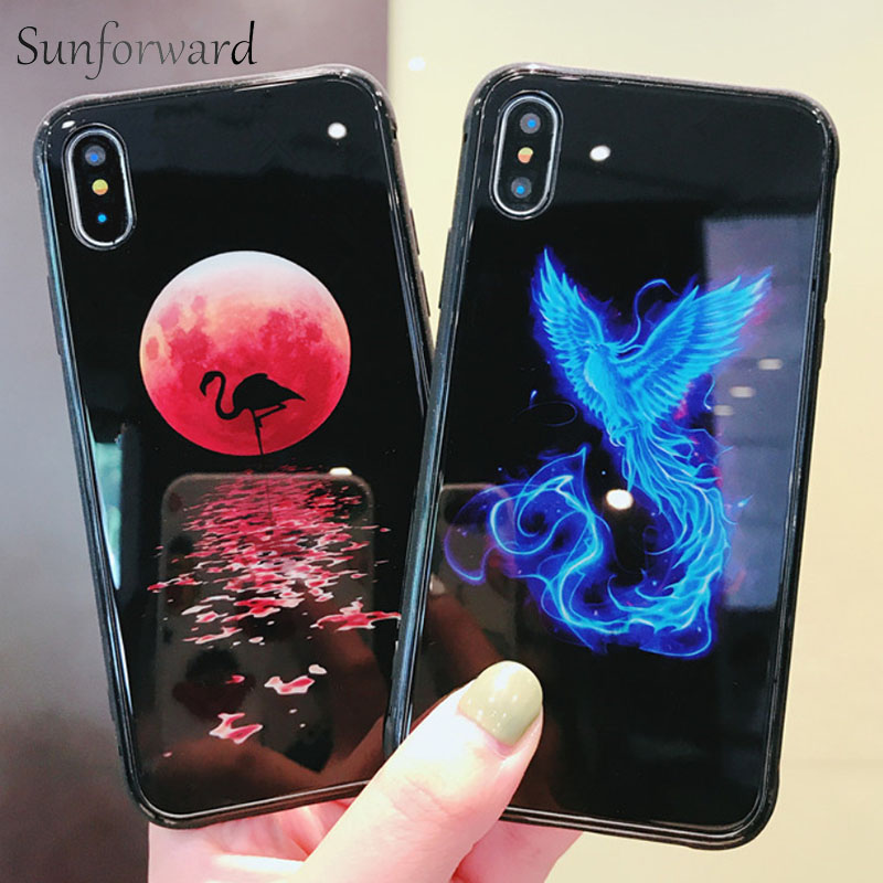 Galleria fotografica Animal Phone Cover For iPhone 6s Case Luminous Tiger Phoenix Tempered Glass For Apple iPhone X 6 7 8 Plus Bumper Silicone Coque