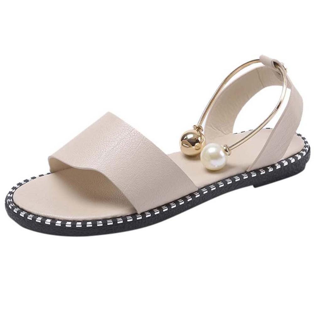 2019 Zapatos موهير الأزياء روما الانزلاق على النساء الصنادل الوجه يتخبط الصلبة جولة تو اللؤلؤ مشبك السببية الصنادل أحذية-في صنادل للسيدات من أحذية على  مجموعة 2