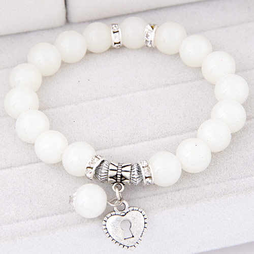 LEMOER Summer Candy Color Glass Beads Lock Love Heart Charm Bracelets & Bangles for Women Lover's Gift Pulseras Mujer Jewelry