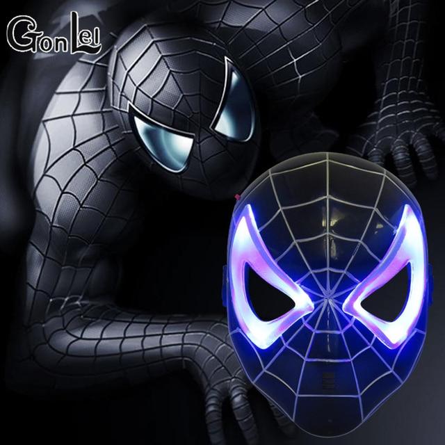 GonLeI LED Glowing Luz Spider Man Superhero Halloween Máscara Máscara do homem-Aranha dos desenhos animados para Crianças Brinquedo Lâmpada de Incandescência Spiderman máscara