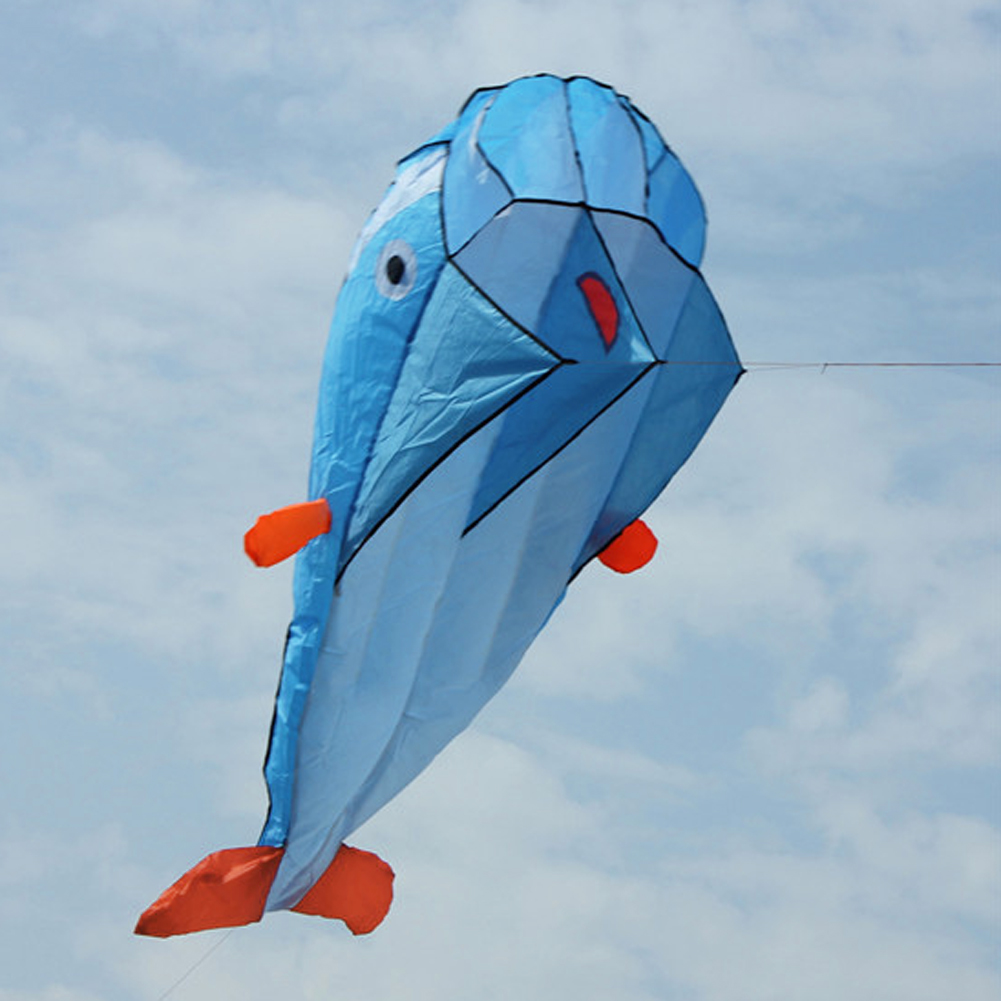 Huge 3D Parafoil Dolphin Kite with Flying Tools Outdoor Fun Square Beach Flying Toy Cute Big Dolphin Kite Easy to Fly 200x73cm