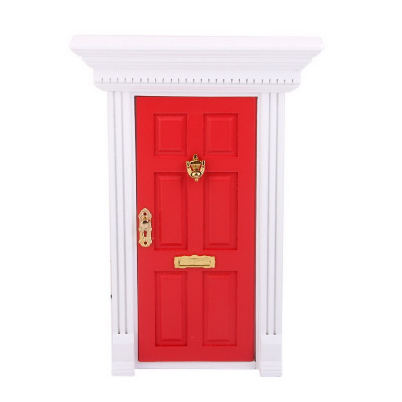 1 12 Dollhouse Miniature Luxury Wooden Red Exterior Door 6 Panel W Key Free Shipping In