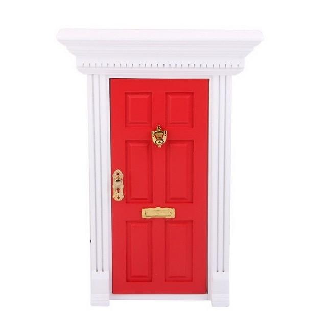 1:12 Dollhouse Miniature Luxury Wooden Red Exterior Door 6 Panel w ...