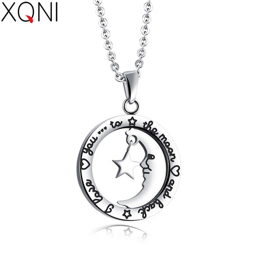 Responsible Xqni Top Sale Elegant Moon Star Women Pendant Double Layer Circle English Alphabet Simple Lining Necklace Stainless Steel Gift Catalogues Will Be Sent Upon Request Chain Necklaces