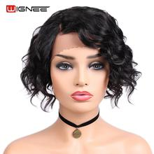 Wignee Side Part Human Hair Wigs For Black/White Women Short Hair Afro Kinky Wave Remy Brazilian Glueless Curly Lace Human Wig