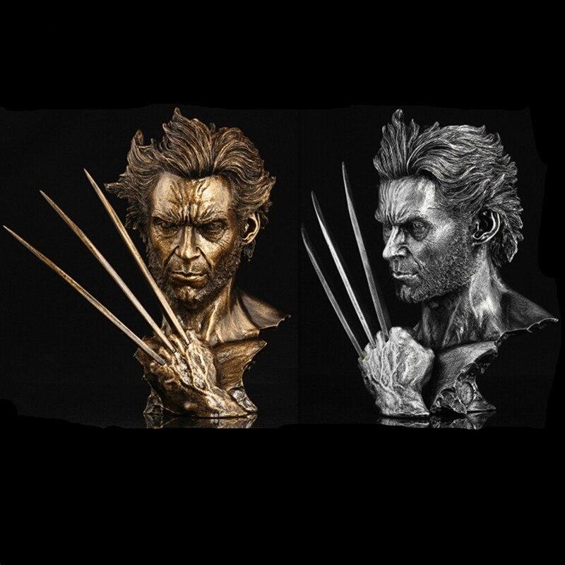 30cm Super Hero X-men Wolverine Bust model With Stand Hugh Jackman Resin Lmitation Bronze Statue Action Figure Collectible DE128