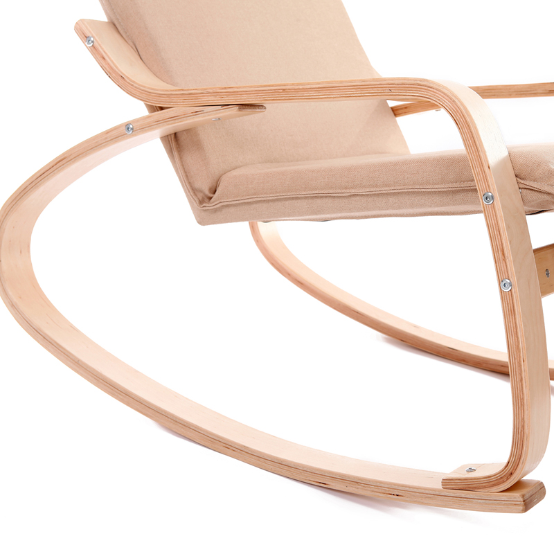 Comfortable Relax Wood Rocking Chair With Foot Rest Design Living Room Furniture Modern Recliner Leisure Fabric Cushion In Chairs From