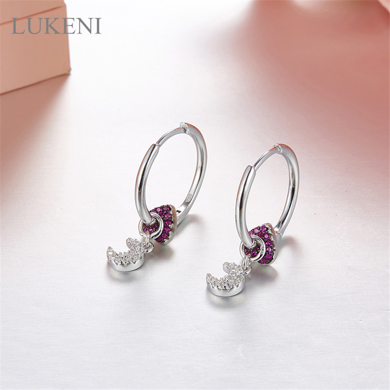 LUKENI Personality Fashion Women S925 Sterling Silver Micro Inlay Zircon Geometric Moon Love Earrings Jewelry the character of the new fashion women s silver moon moon goddess calla true to life s925 ring