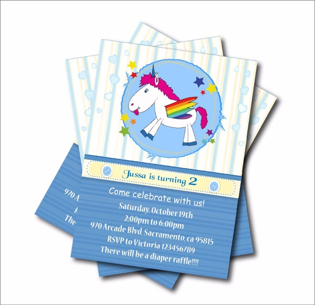 20 pcslot unicorn birthday invitation blue stripe boys baby shower 20 pcslot unicorn birthday invitation blue stripe boys baby shower invites birthday party decoration stopboris Gallery