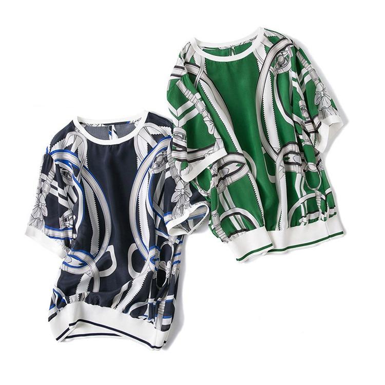 Courtes 100 Mode 2 Gros Oneck Manches Vert dark À M l T Détail Couleur shirt Épissé Mélange Jeune Blue En Femmes Imprimé Green Soie Été rXIqrw176
