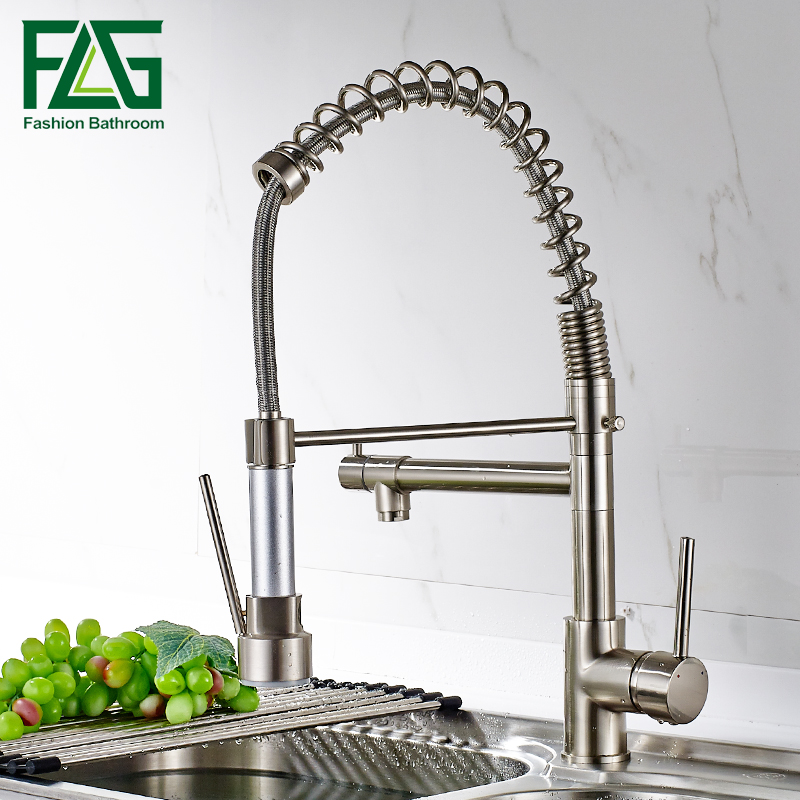 FLG Newly Design 360 Swivel 100% Solid Brass Single Handle Mixer Sink Tap Pull Out Down Kitchen Faucet In Brushed Nickel swivel spout chrome brass kitchen faucet vessel sink mixer tap single handle hole mixer tap