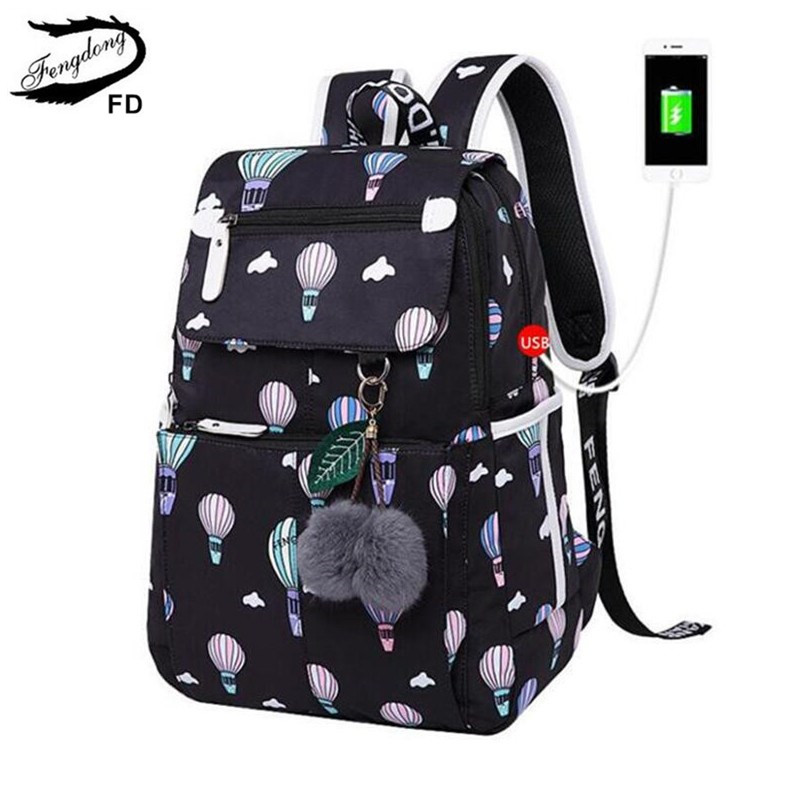 FengDong fashion school backpack for girls school bags new arrival 2018 children backpacks kids cute USB bag schoolbag bookbag
