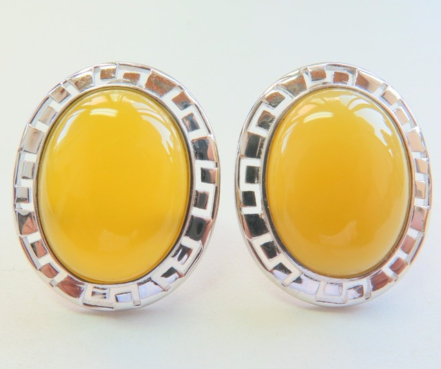 New 925 Sterling Silver With Yellow Jade Oval Stud Earrings Hallmark S925