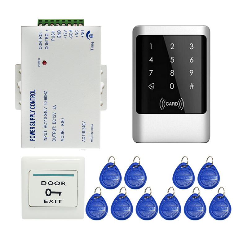 Free Shipping 125khz Metal Waterproof RFID Card Reader Keypad Door Access Control System for 12V DC Electric Lock In Stock Free free shipping waterproof metal shell 125khz rfid access control card reader with wg26 port 5pcs crystal keyfobs