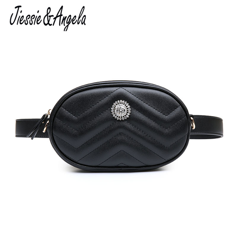 Jiessie & Angela Women Waist Bags PU Leather Fashion Women Chain Shoulder Bag Female Waist Pack Belt Travel Zipper Bag For Phone цена