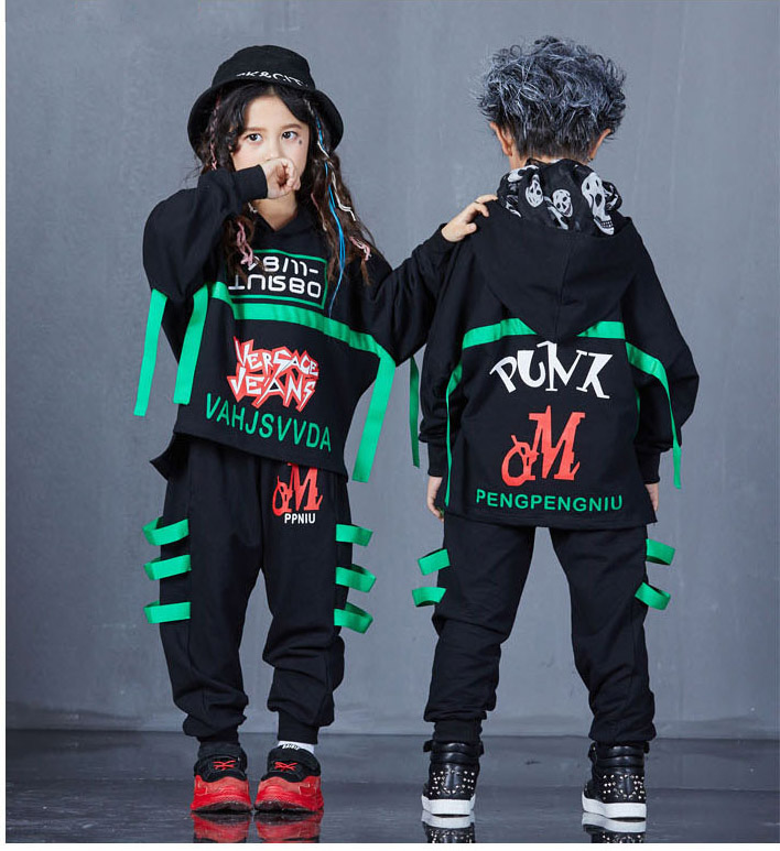 Kids Sport Sweatshirt Pants Cotton Clothing Set Hip Hop Jazz Dance Straps wear Costumes for Girls Boys Dancing Street Outfits 4 pieces new fashion print cool boys girls clothing set cotton t shirt hip hop dance pants sport clothes suits kids outfits