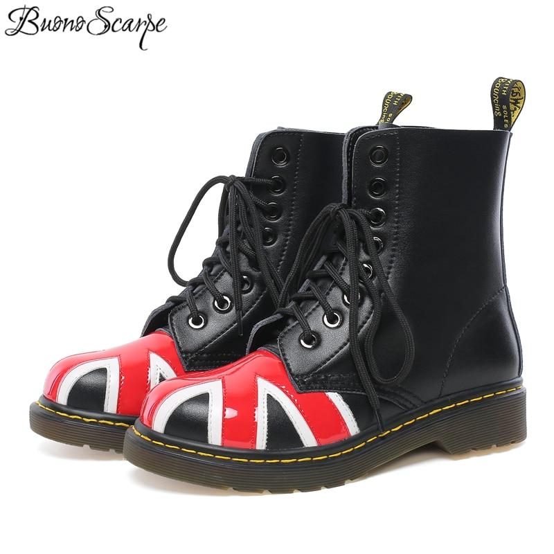 Buono Scarpe 2019 buty kobiety prawdziwej skóry buty w paski do szycia buty Punk buty kobieta na co dzień Botas Mujer damskie buty do kostki w Buty do kostki od Buty na  Grupa 1