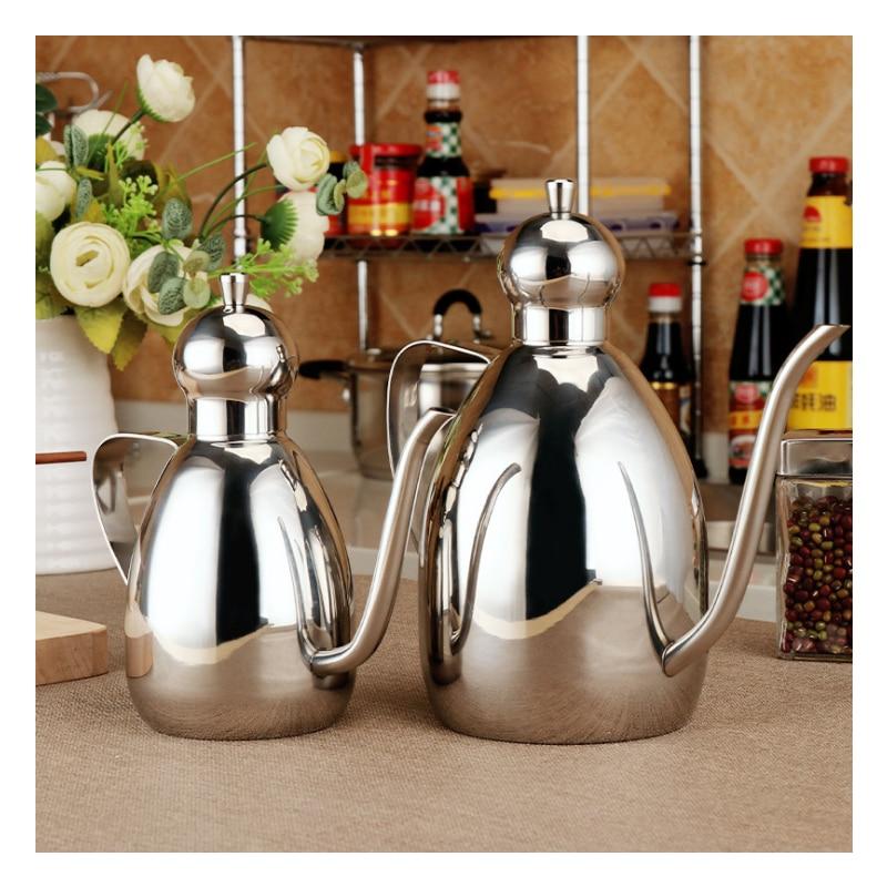 1 Pcs The new 304 stainless steel sauce pot, 5001000ml two size leak proof seasoning sauce Seasoning pot