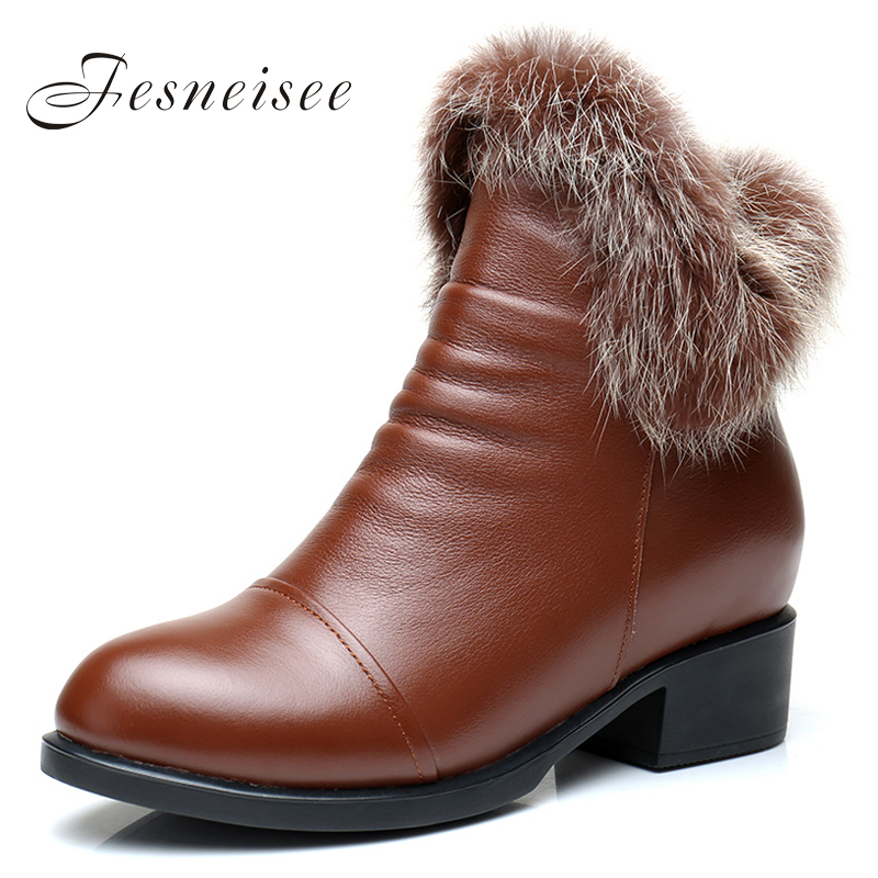 New fashion cowhide rabbit fur girls winter short ankle snow boots for women winter zipper square heels shoes high quality M4.0 11cm heels 2013 new winter high platform soled high heeled snow boots female side zipper rabbit fur thick heels snow shoes h1852