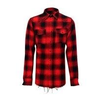 Red Plaid Washing Water Tattered Hem Tassel Long Sleeve Loose Shirt Mens Shirts Casual Slim Fit Ropa De Hombre 2018