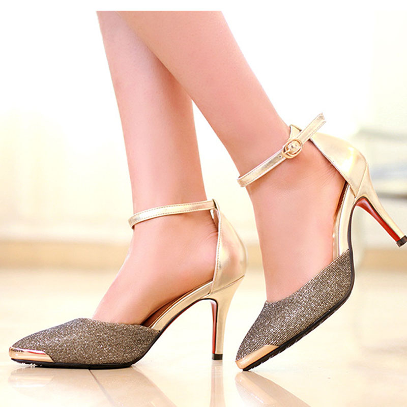 New Arrival Fashion Sexy font b Women b font Pumps Ankle Strap Thin High heeled Shoes