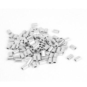 0.8 мм 1/32-дюймовый Провода веревки Алюминий наконечники рукава Серебряный тон 100 шт.