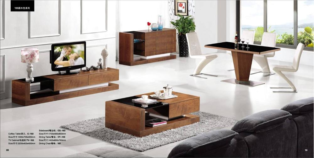 Wood Furniture Living Room Furntiure Set Coffee TableTV Cabinet Sideboard And Dinning