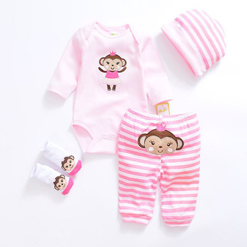 2017 Fashion baby Clothing Sets cotton Cute baby girl clothes Newborn boy suit 4pcs long sleeve infant bodysuits+pants+socks+hat