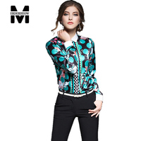 New 2016 Autumn Women's Printing Long Sleeved Blouses Shirts Female Casual Clothing Fashion Women Sexy Slim Blouse Shirt Tops