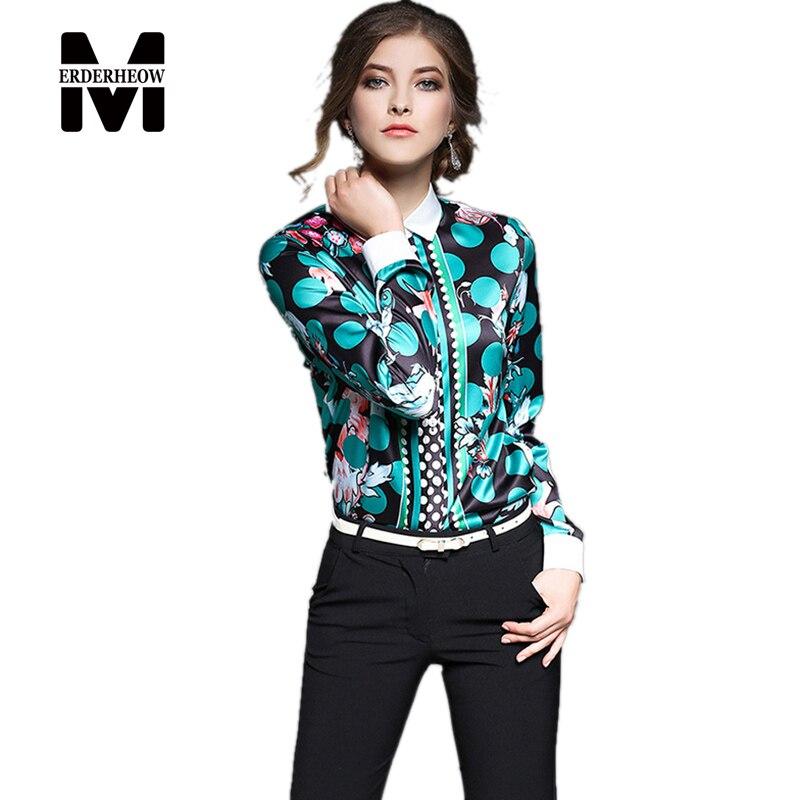 Nuevo  mujeres del otoño impresión de manga larga blusas camisas mujer casual cl