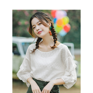 Image 2 - INMAN Summer O neck Literary Embroidery Loose Casual All Matched Half Sleeves Women Shirt