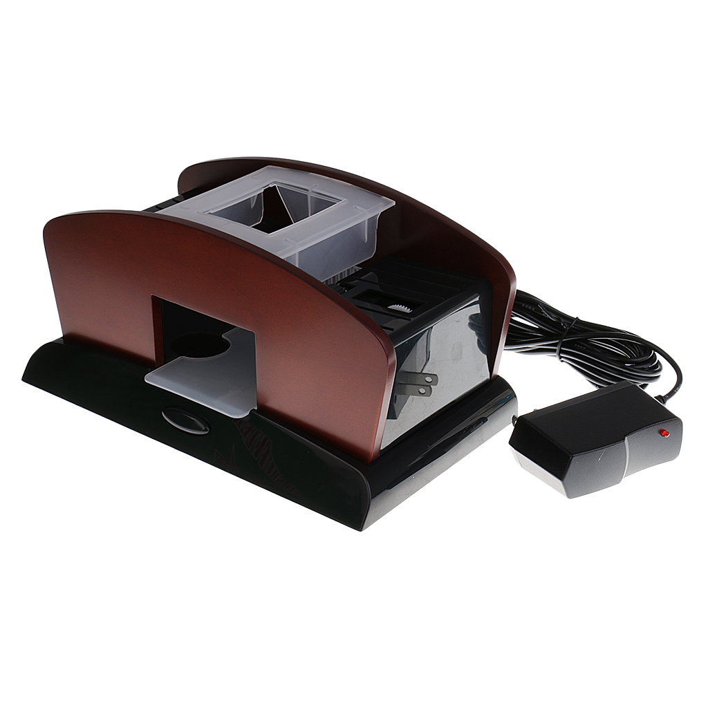 New 2 Deck Wood Card Shuffler Double Use Automatic Playing Shuffling Machine Playing Cards for Camping Travelling Game Supplies