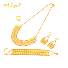 Ethlyn Middle East/Islam/Arab Luxury Gold Color Double Coin Necklace/Big Drop Earrings/Ring/Bracelet Women Jewelry Sets S273